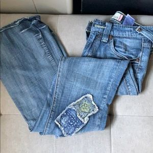 Super Low Levi's Jeans With Patches Size 1
